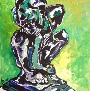 Study of Rodin's  'The Crouching Woman' 2014; 12x12 inches; acrylic on canvas panel; NFS