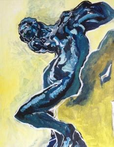 Study of Rodin's  'Meditation' 2014; 14x11 inches; acrylic on canvas panel; NFS